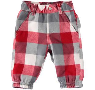 Pantalone a quadri foderato in tessuto 100% cotone ido ROSSO-2253