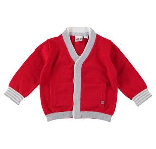 Delizioso cardigan in tricot misto cotone e lana ido ROSSO-2253