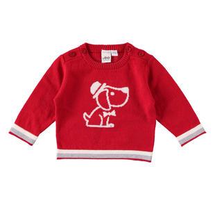 Maglia in tricot misto cotone e lana con bassotto ido ROSSO-2253