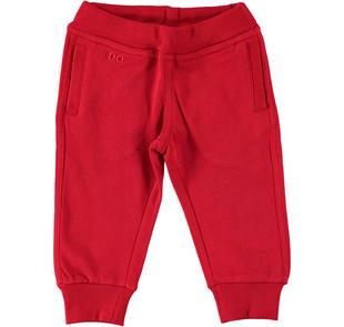 Comodo pantalone in felpa 100% cotone ido ROSSO-2253