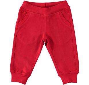 Pantalone lungo in jersey pesante 100% cotone ido ROSSO-2253
