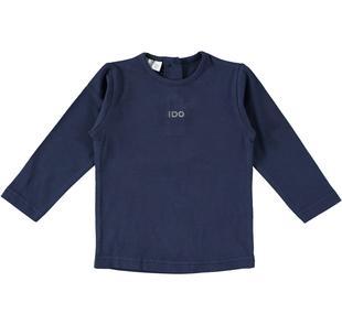 Maglietta girocollo a manica lunga in cotone ido NAVY-3854