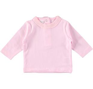 Maglietta a manica lunga in cotone smerigliato ido LIGHT PINK-5819