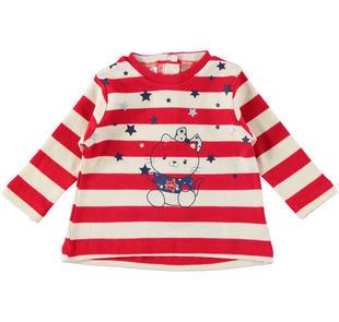 Maglietta rigata 100% cotone con gattina e stelle ido ROSSO-2253