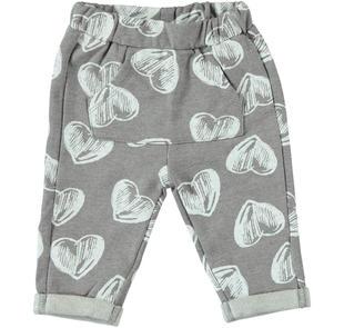 Pantalone in felpa garzata con tasca a marsupio ido GRIGIO MELANGE-PANNA-6Z45