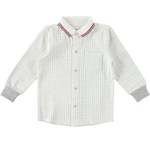 Camicia in cotone elasticizzato con microfantasia stampata ido PANNA-GRIGIO-6Z36