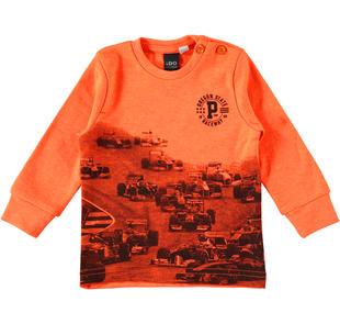 Maglietta 100% cotone con stampa auto da corsa ido ARANCIO FLUO-5821