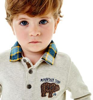 Polo con colletto e fondo effetto camicia sotto ido ECRU MELANGE  -8989