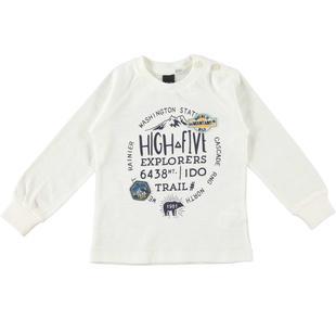 Maglietta a manica lunga in jersey fiammato 100% cotone ido PANNA-0112