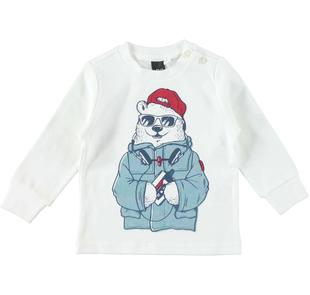 Maglietta in caldo tessuto 100% cotone con simpatico orso ido PANNA-0112