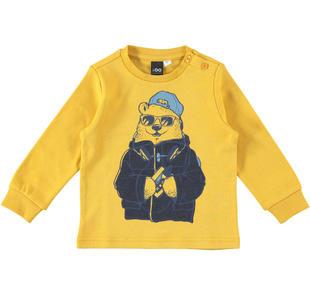 Maglietta in caldo tessuto 100% cotone con simpatico orso ido GIALLO-1615