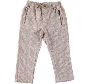 Pantalone stampato in felpa stretch garzata ido BEIGE-BEIGE-6Z38