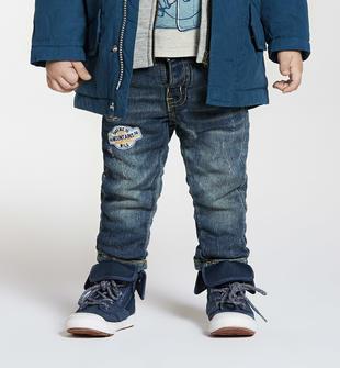 Grintoso pantalone di maglia elasticizzata effetto denim ido BLU-7750