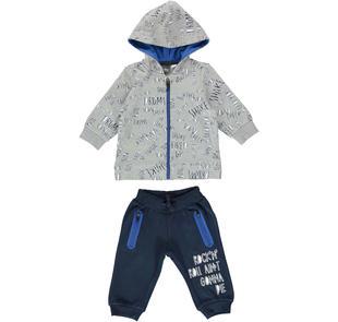 Tuta in cotone con interno cappuccio e zip in contrasto di colore ido GRIGIO-BLU-8008
