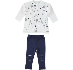 Completo con maglietta con motivo stampato di stelle lamè ido PANNA-BLU-8132