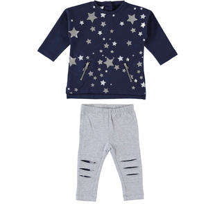 Completo con maglietta con motivo stampato di stelle lamè ido BLU-GRIGIO-8299