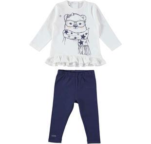 Completo 100% cotone con maglietta con orsetta ido PANNA-BLU-8132