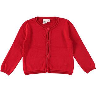 Cardigan a manica lunga in tricot misto viscosa ido ROSSO-2253