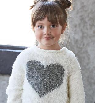 Maglia in morbidissimo tricot effetto pelliccia con cuore lurex ido PANNA-0112
