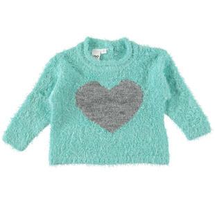 Maglia in morbidissimo tricot effetto pelliccia con cuore lurex ido ACQUA-4145