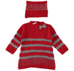 Vestitino fantasia a righe in speciale tricot effetto pelliccia ido ROSSO-GRIGIO-8015
