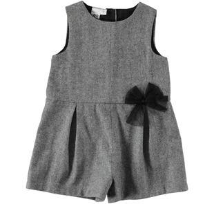 Tutina jumpsuit corta in panno laniero lurex ido PANNA -NERO-8206