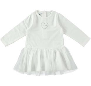 Vestitino a manica lunga in cotone stretch ido PANNA-0112