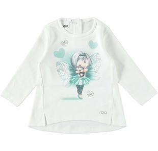 Maxi maglietta 100% cotone con dolce fatina ido PANNA-0112