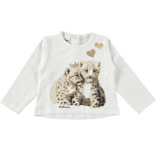 Maglietta in cotone elasticizzato con teneri tigrotti ido PANNA-0112