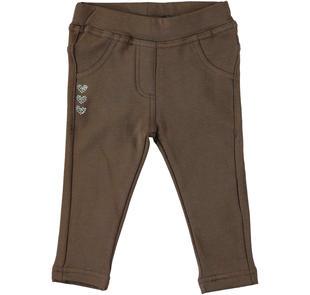 Pantalone in felpa di cotone con tris di cuoricini ido MARRONE-1243
