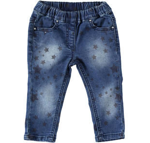 Versatile e comodo pantalone di cotone con stelle ido DENIM-BLU-6Z47