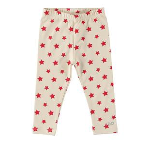 Leggings in cotone con stelle a contrasto ido BEIGE-ROSSO-6AA1