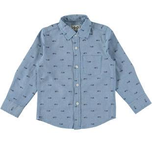 Camicia 100% cotone in oxford stampato ido AZZURRO-BLU-6Z87