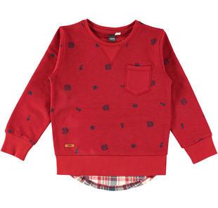 Felpa bambino con inserto in tessuto camicia a quadri ido BORDEAUX-BLU-6Z97