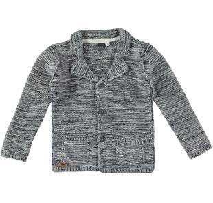 Cardigan bambino modello giacca con rever classico ido GRIGIO MELANGE-8992