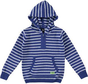 Maglia bambino a righe in tricot misto cotone e lana ido GRIGIO MELANGE-8992