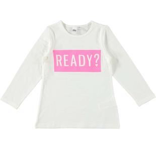 Maxi maglietta in cotone con stampa dettagli fluo ido PANNA-0112