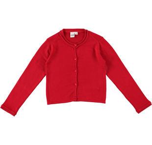 Cardigan bambina a manica lunga in morbido tricot ido ROSSO-2253