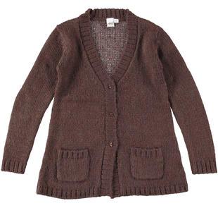 Morbido e caldo cardigan bambina in tricot lurex ido MARRONE-1243