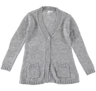 Morbido e caldo cardigan bambina in tricot lurex ido GRIGIO MELANGE-8992