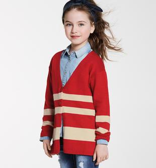 Cardigan lungo bambina in tricot misto cotone ido ROSSO-BEIGE-8313