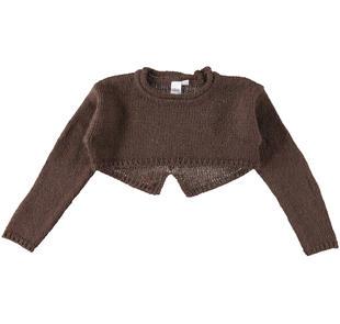 Maglia bambina a manica lunga in tricot lurex ido MARRONE-1243