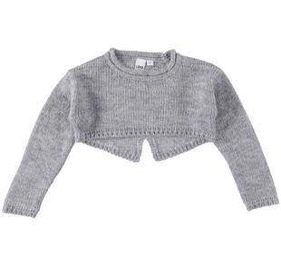 Maglia bambina a manica lunga in tricot lurex ido GRIGIO MELANGE-8992