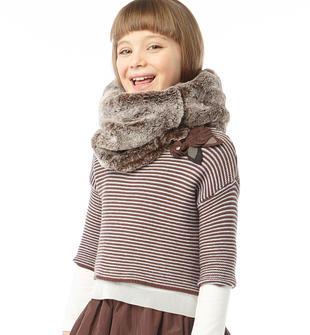 Maglia bambina in tricot misto cotone e lana con fiorellini ido MARRONE-GRIGIO-8269
