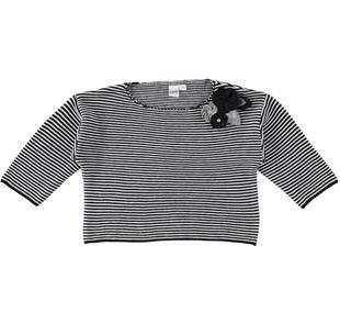 Maglia bambina in tricot misto cotone e lana con fiorellini ido NERO-PANNA-8349