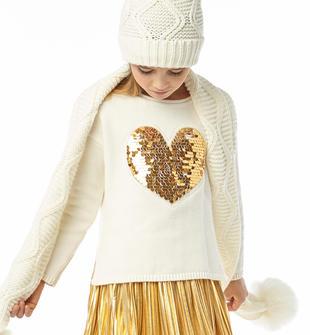 Maglia a manica lunga in tricot misto cotone e lana ido PANNA-0112