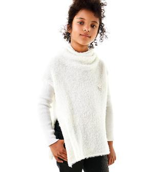 Maglia dolcevita bambina in tricot effetto pelliccia ido PANNA-0112