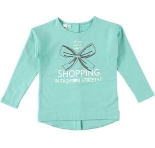 Maxi maglietta bambina in felpa elasticizzata garzata ido ACQUA-4145