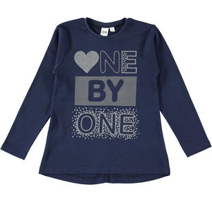 Maxi maglietta bambina in cotone con glitter ido NAVY-3854