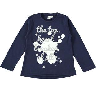 Maglietta bambina in caldo cotone ido NAVY-3854